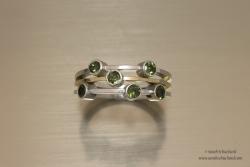 Bicolor ring met 6 toermalijnen